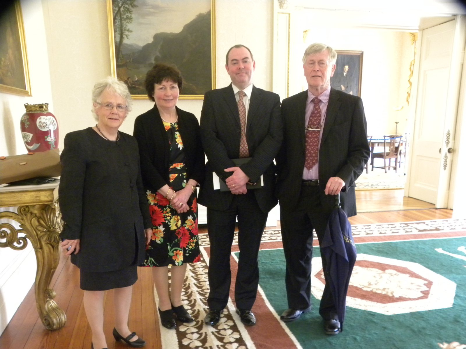 Doreen, Martina, Roddy and Frank in the Drawing Room