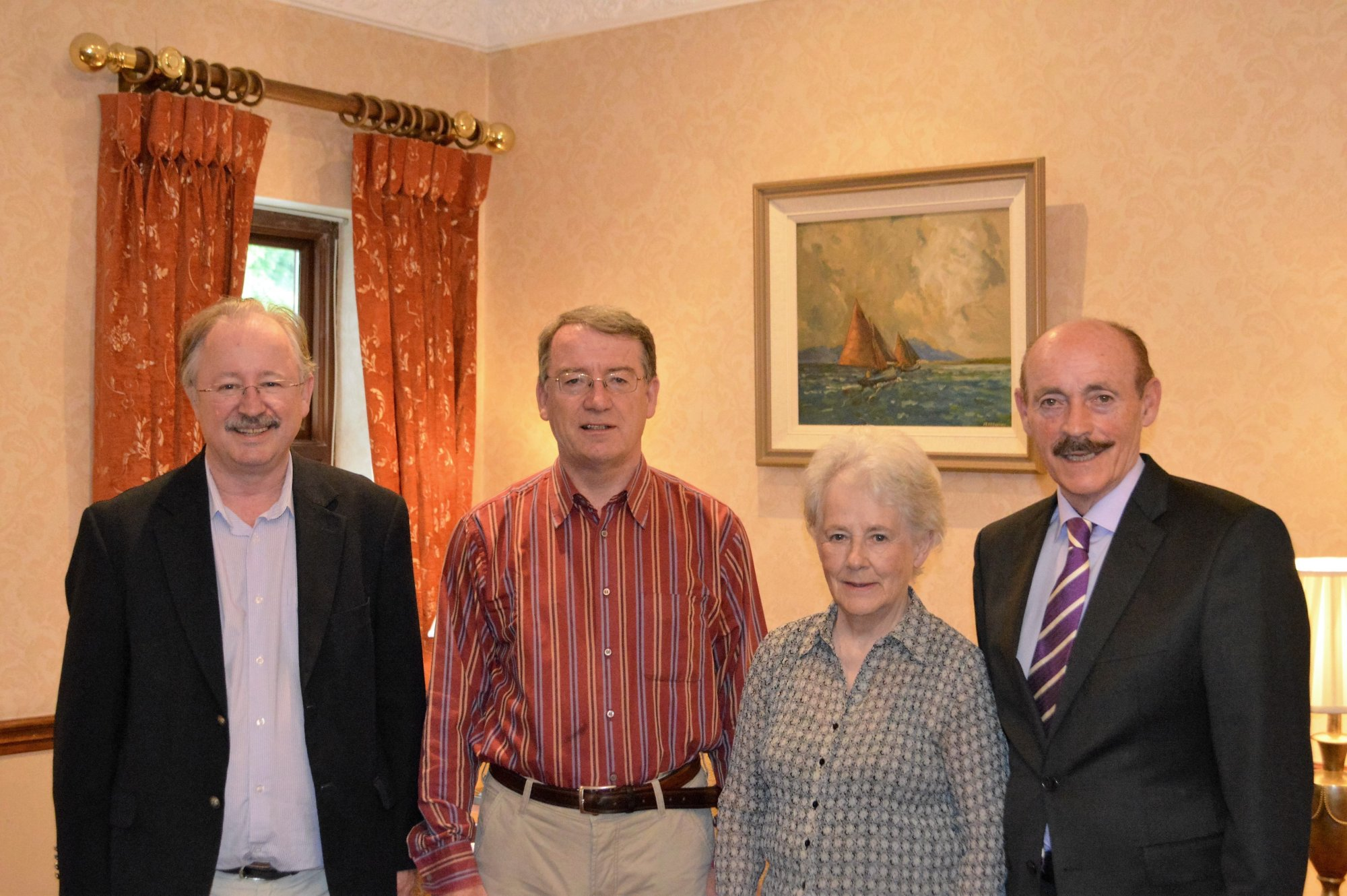 From left: Eugene Jordan, Galway Archaeological and Historical Society; Professor D&aacuteibhi &OacuteCr&oacutein&iacuten; Doreen McBride, Vice-Chair of FULS and Michael Gaynor, Chair of FLHS