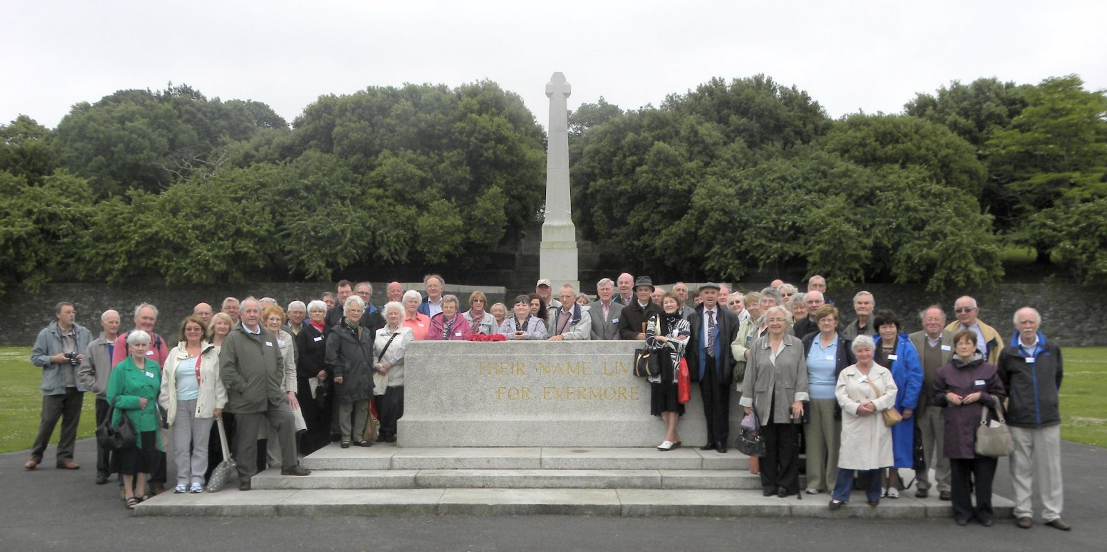 Group at War Stone with Great Cross in background