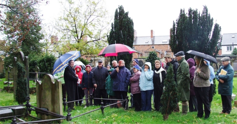Dr Eamon Phoenix takes the group through the history of Belfast and the cemetery - PHOTO Pat Devlin