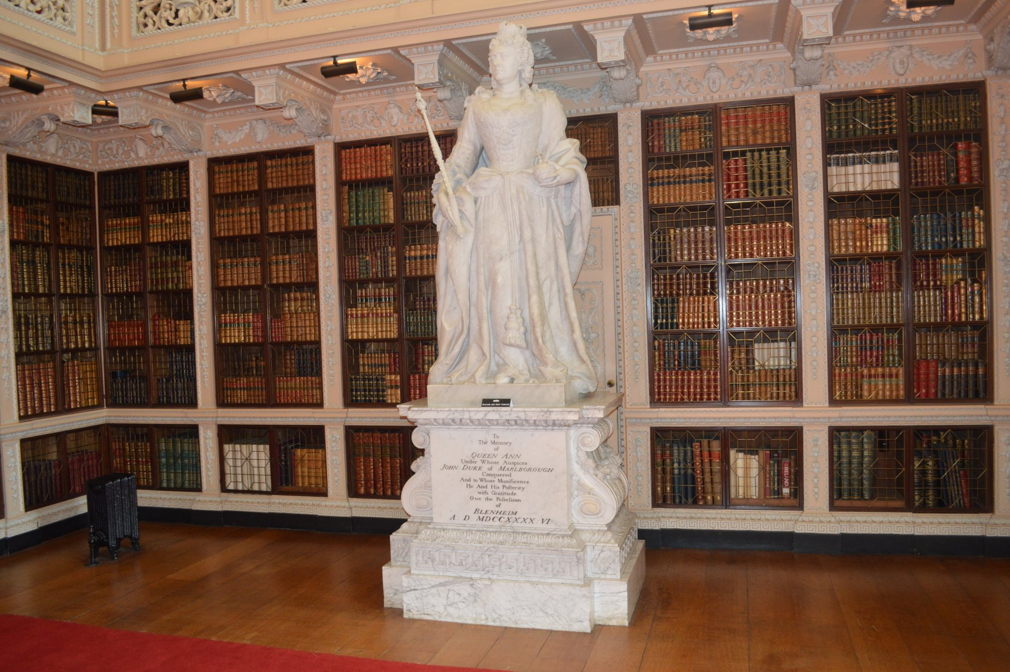 Library with statue of Queen Anne