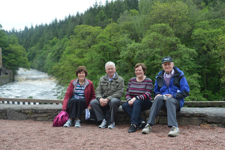 Elish O'Daly, John Bradley, Mairead Byrne and Walter McFarlane at New Lanark