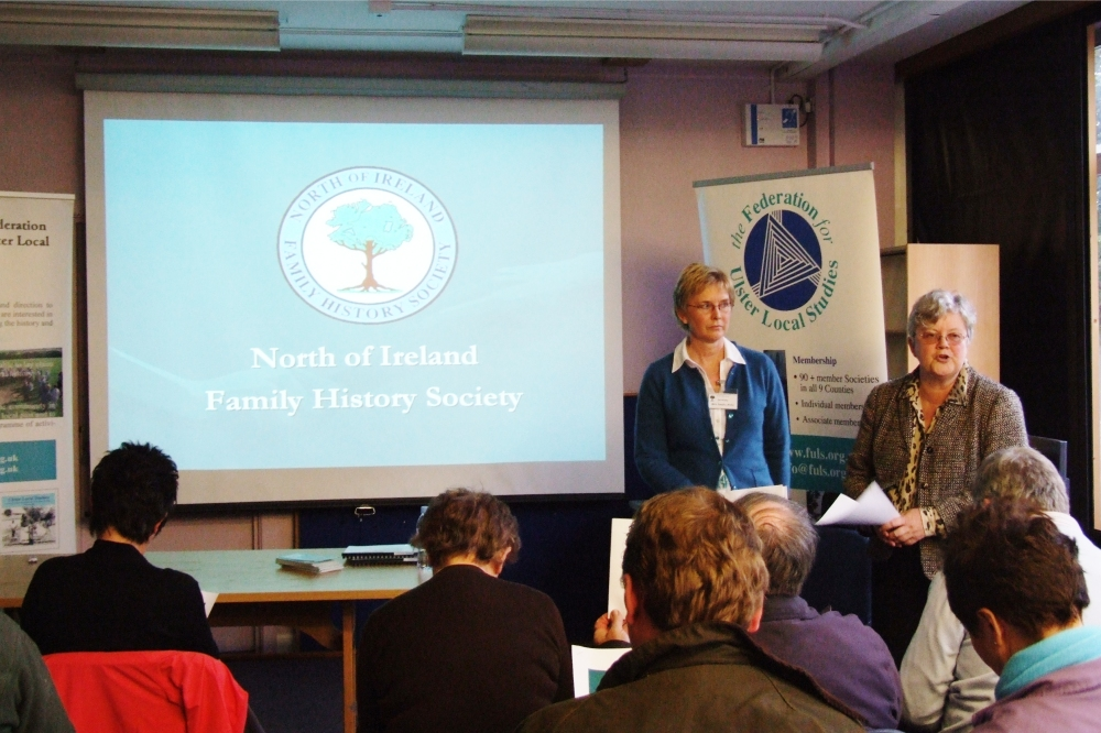 Sandra Ardis and Anne Johnston outline the work of the NI Family History Society - PHOTO Pat Devlin