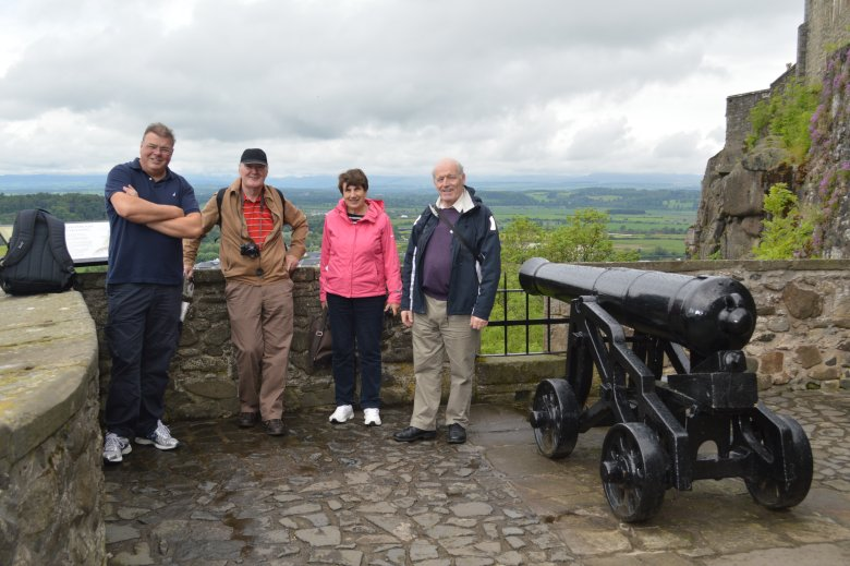 Damian Moore, Johnny Dooher, Moira and Padraig Laffan on the Ramparts at Stirling Castle